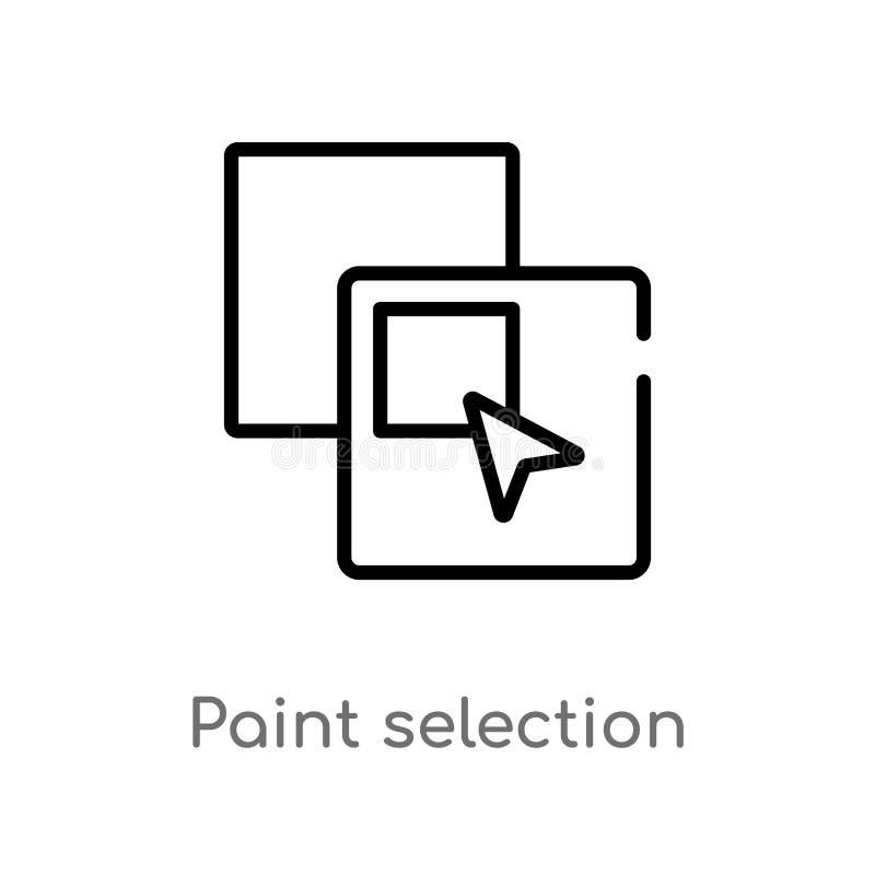 icono del vector de la selecci?n de la pintura del esquema l?nea simple negra aislada ejemplo del elemento del concepto de las fo stock de ilustración