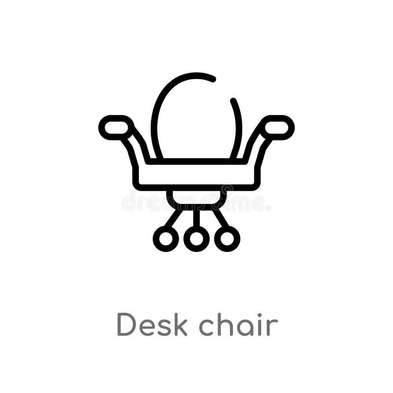 icono del vector de la silla de escritorio del esquema l?nea simple negra aislada ejemplo del elemento del concepto de la estrate libre illustration