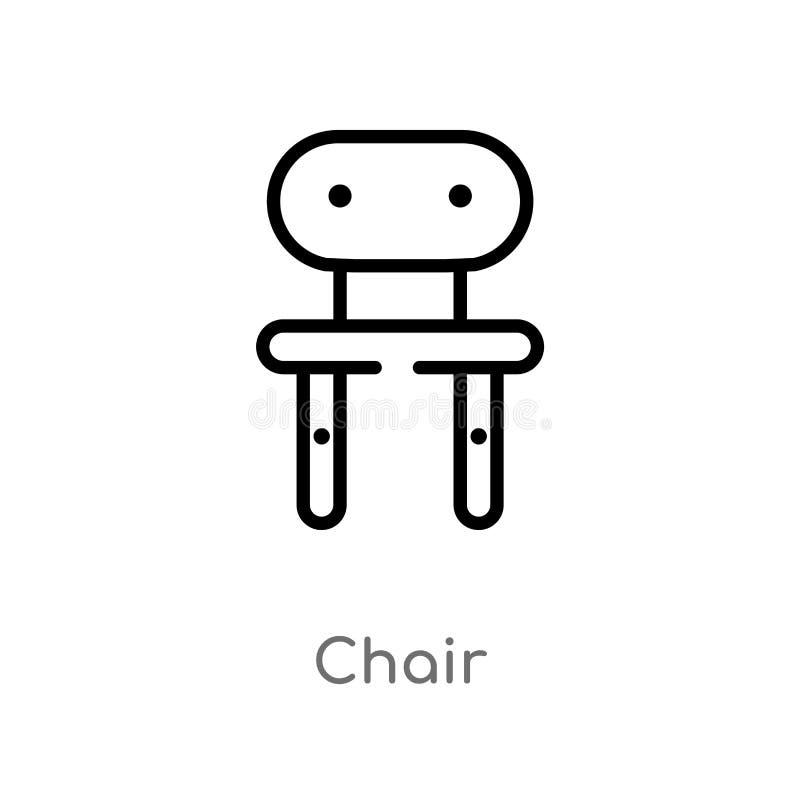 icono del vector de la silla del esquema línea simple negra aislada ejemplo del elemento del concepto que acampa icono editable d ilustración del vector