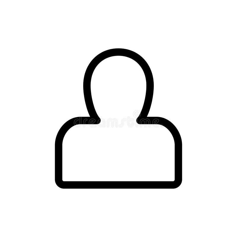 Icono del vector de la silueta de la persona Ejemplo blanco y negro del avatar del usuario Icono linear del esquema ilustración del vector