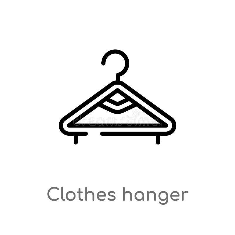 icono del vector de la suspensión de ropa del esquema línea simple negra aislada ejemplo del elemento del concepto de la higiene  ilustración del vector