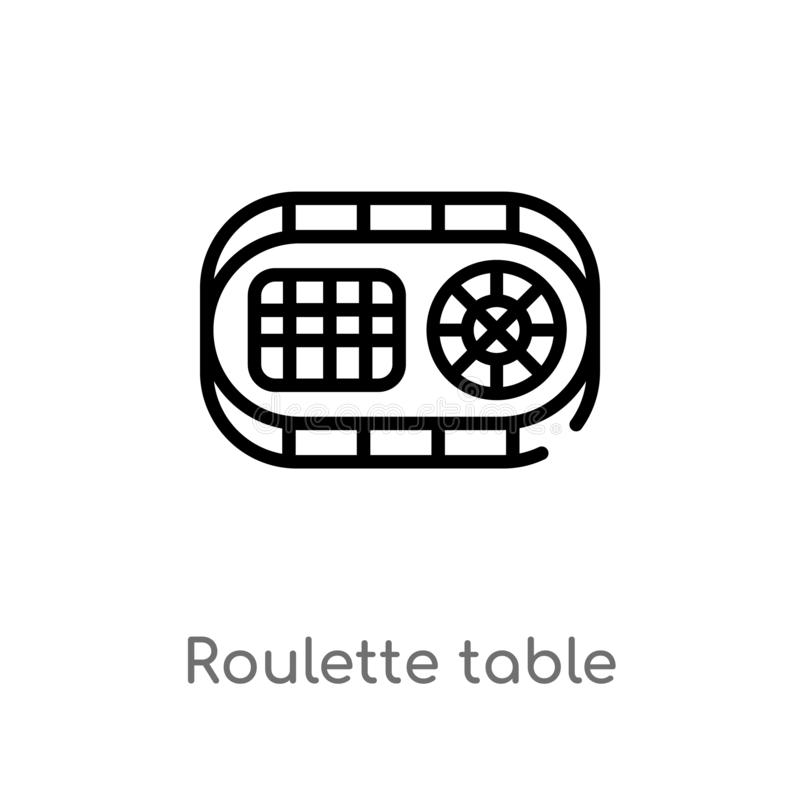 icono del vector de la tabla de la ruleta del esquema l?nea simple negra aislada ejemplo del elemento del otro concepto Movimient libre illustration