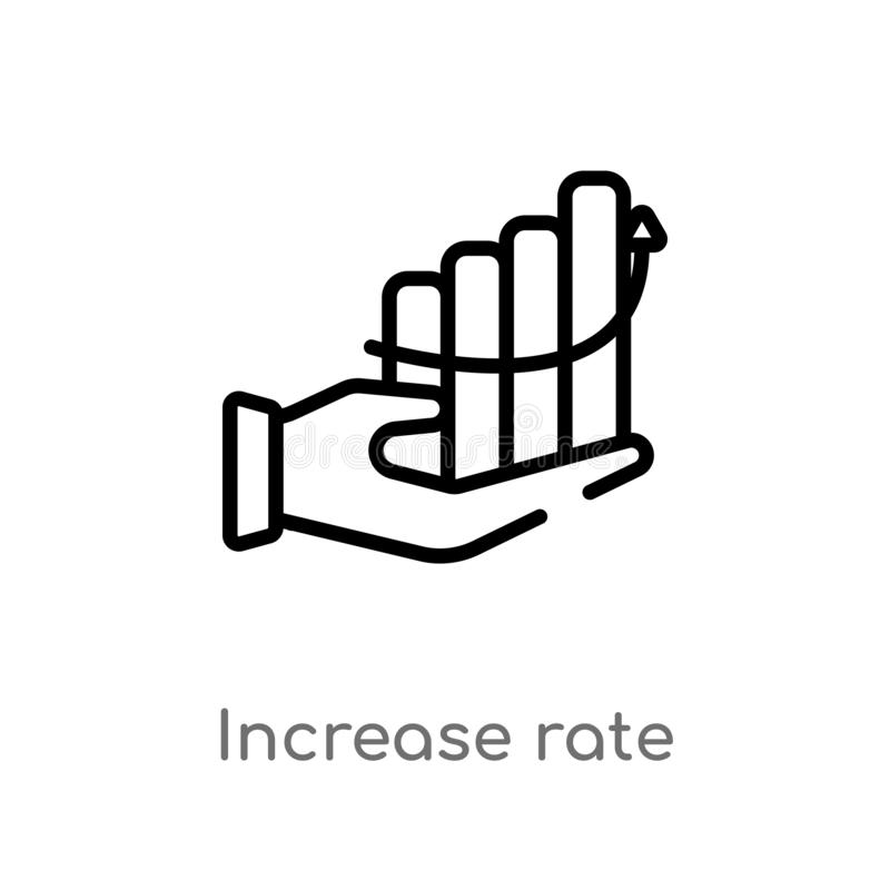 icono del vector de la tarifa del aumento del esquema l?nea simple negra aislada ejemplo del elemento del concepto del negocio Mo stock de ilustración