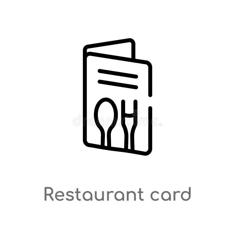 icono del vector de la tarjeta del restaurante del esquema l?nea simple negra aislada ejemplo del elemento del concepto del comer libre illustration