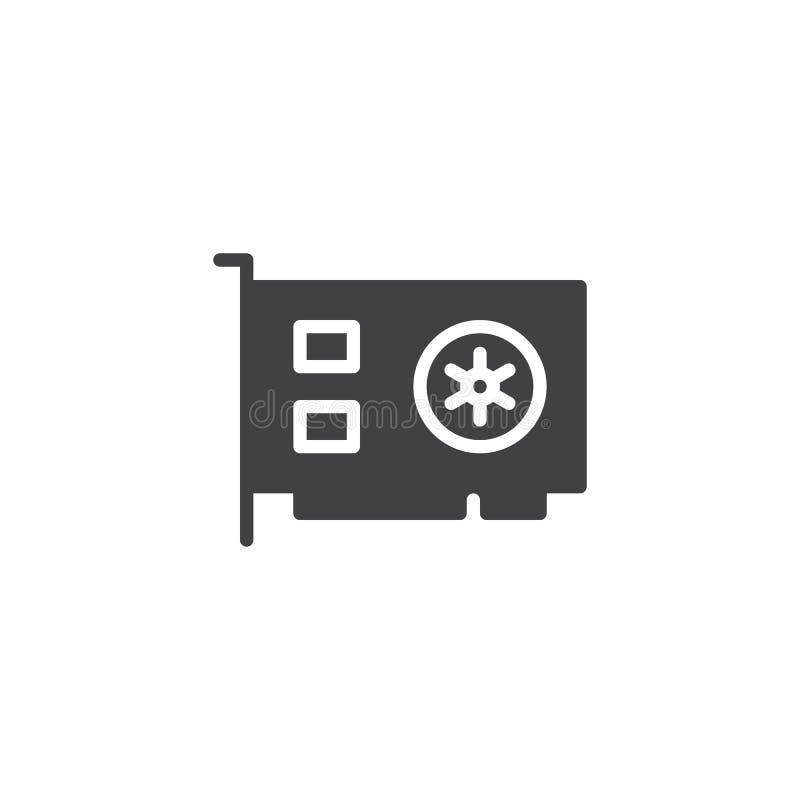 Icono del vector de la tarjeta de vídeo del ordenador libre illustration