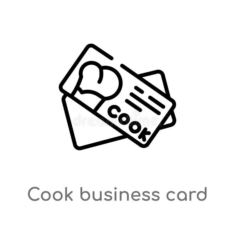 icono del vector de la tarjeta de visita del cocinero del esquema l?nea simple negra aislada ejemplo del elemento del otro concep libre illustration