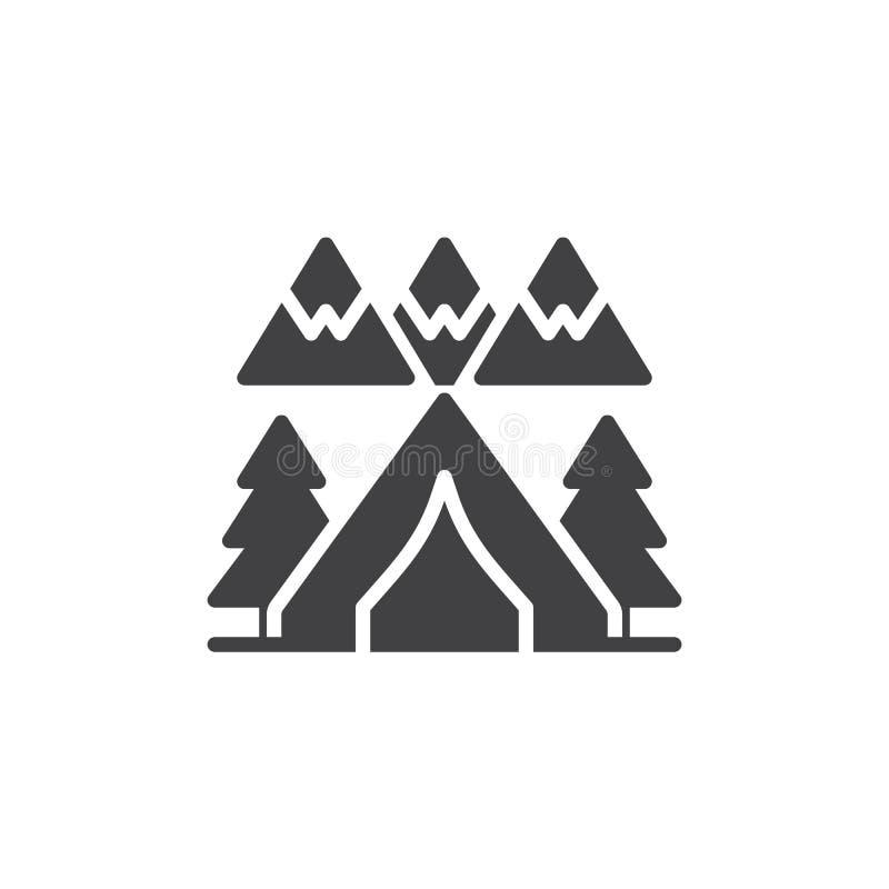 Icono del vector de la tienda de campaña del bosque ilustración del vector