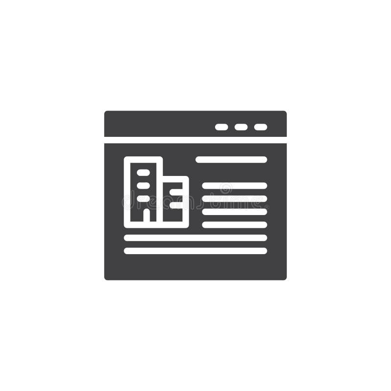 Icono del vector de la tienda en línea de las propiedades inmobiliarias ilustración del vector