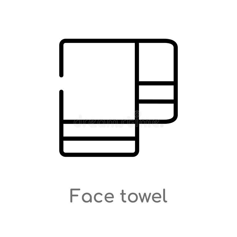 icono del vector de la toalla de cara del esquema l?nea simple negra aislada ejemplo del elemento del concepto de la higiene cara stock de ilustración