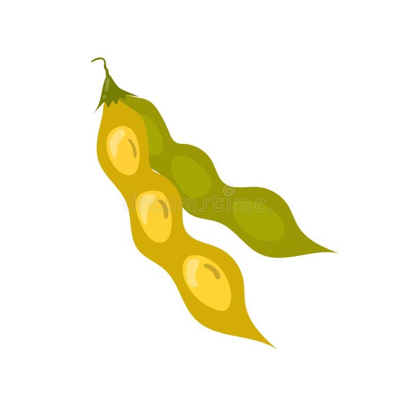 Icono del vector de la vaina de haba de la soja Ejemplo malsano de la historieta de la consumición ilustración del vector