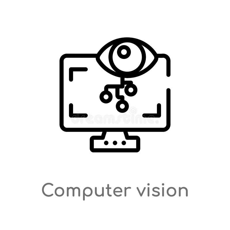 icono del vector de la visión de ordenador del esquema r Vector Editable libre illustration