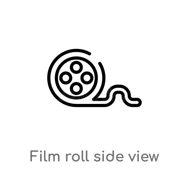 icono del vector de la vista lateral del carrete de película del esquema línea simple negra aislada ejemplo del elemento del conc stock de ilustración