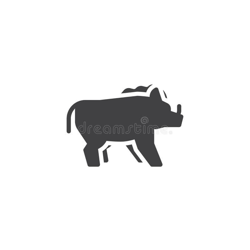 Icono del vector de la vista lateral del jabalí libre illustration