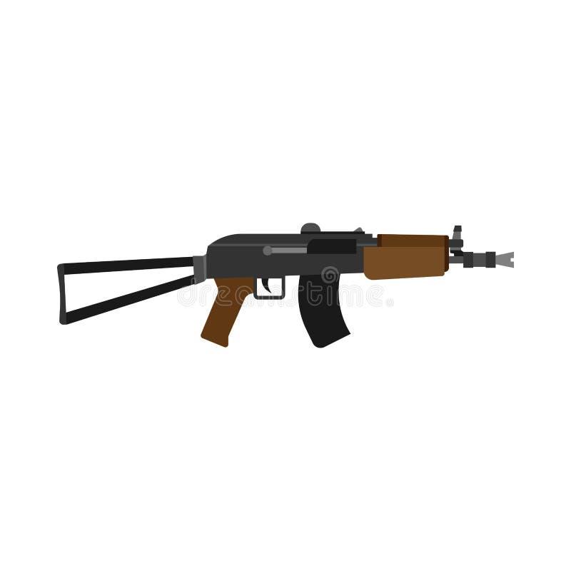 Icono del vector de la vista lateral de la munición del rifle Arma de mano de la policía del objeto del diseño del símbolo del me libre illustration