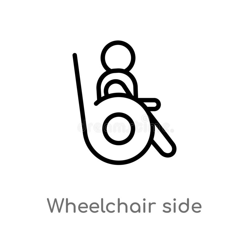 icono del vector de la vista lateral de la silla de ruedas del esquema línea simple negra aislada ejemplo del elemento del concep libre illustration