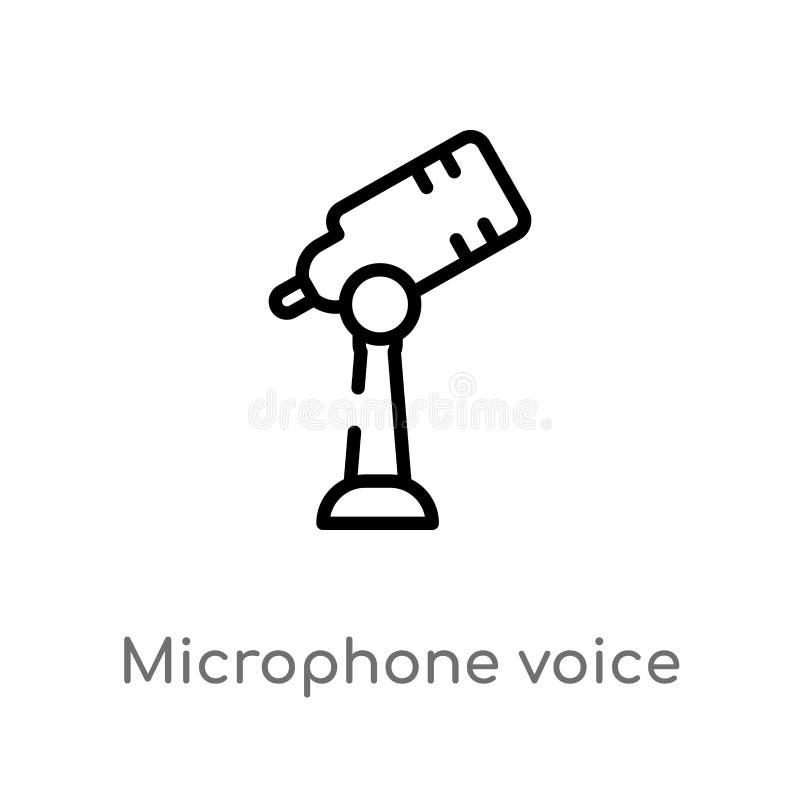 icono del vector de la voz del micrófono del esquema línea simple negra aislada ejemplo del elemento del concepto de la tecnologí libre illustration
