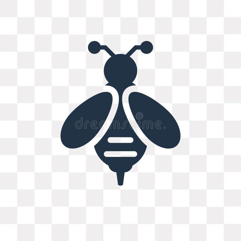 Icono del vector de las abejas aislado en el fondo transparente, transporte de las abejas ilustración del vector