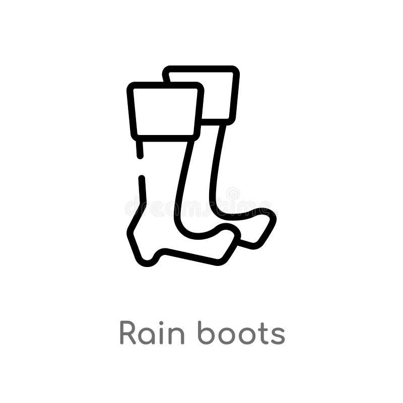 icono del vector de las botas de lluvia del esquema l?nea simple negra aislada ejemplo del elemento del concepto del oto?o lluvia stock de ilustración