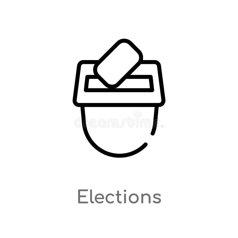 icono del vector de las elecciones del esquema línea simple negra aislada ejemplo del elemento del concepto de la interfaz de usu libre illustration