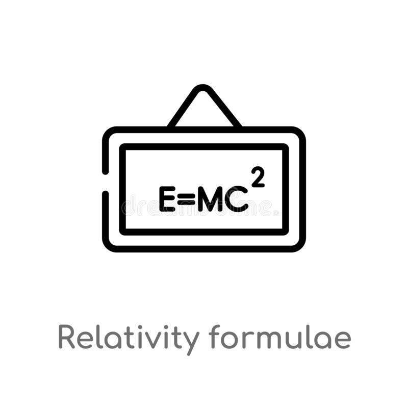 icono del vector de las fórmulas de la relatividad del esquema línea simple negra aislada ejemplo del elemento del concepto de la ilustración del vector