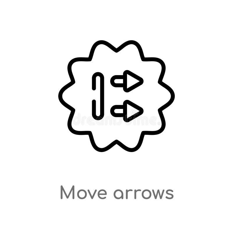 icono del vector de las flechas del movimiento del esquema línea simple negra aislada ejemplo del elemento del concepto de la int stock de ilustración