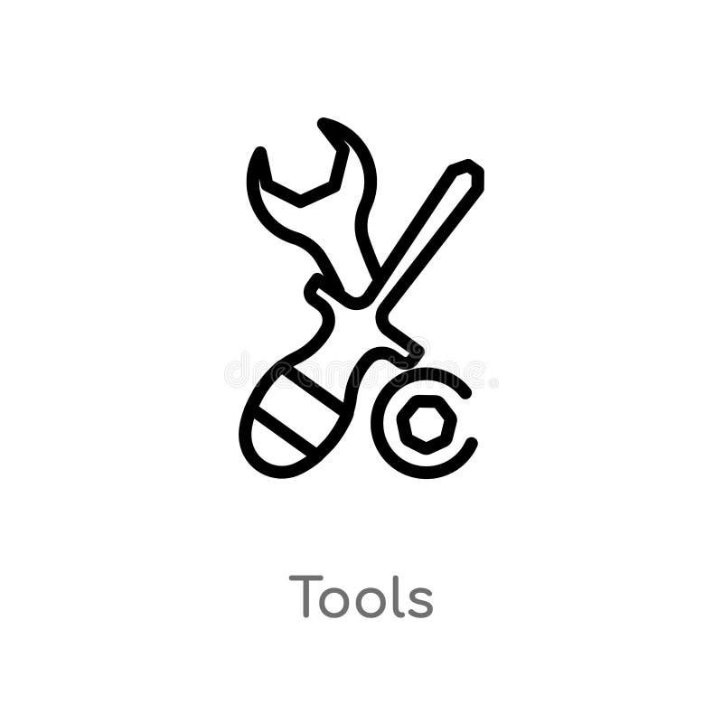 icono del vector de las herramientas del esquema l?nea simple negra aislada ejemplo del elemento del concepto de la industria her stock de ilustración