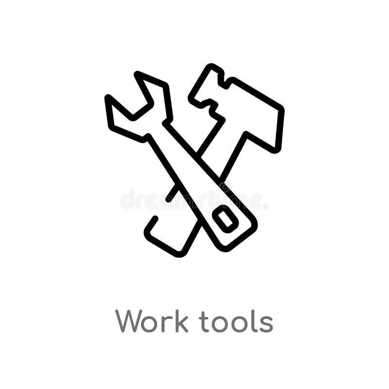 icono del vector de las herramientas del trabajo del esquema línea simple negra aislada ejemplo del elemento del concepto de la i stock de ilustración