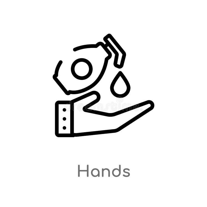 icono del vector de las manos del esquema l?nea simple negra aislada ejemplo del elemento del concepto de limpieza manos editable stock de ilustración