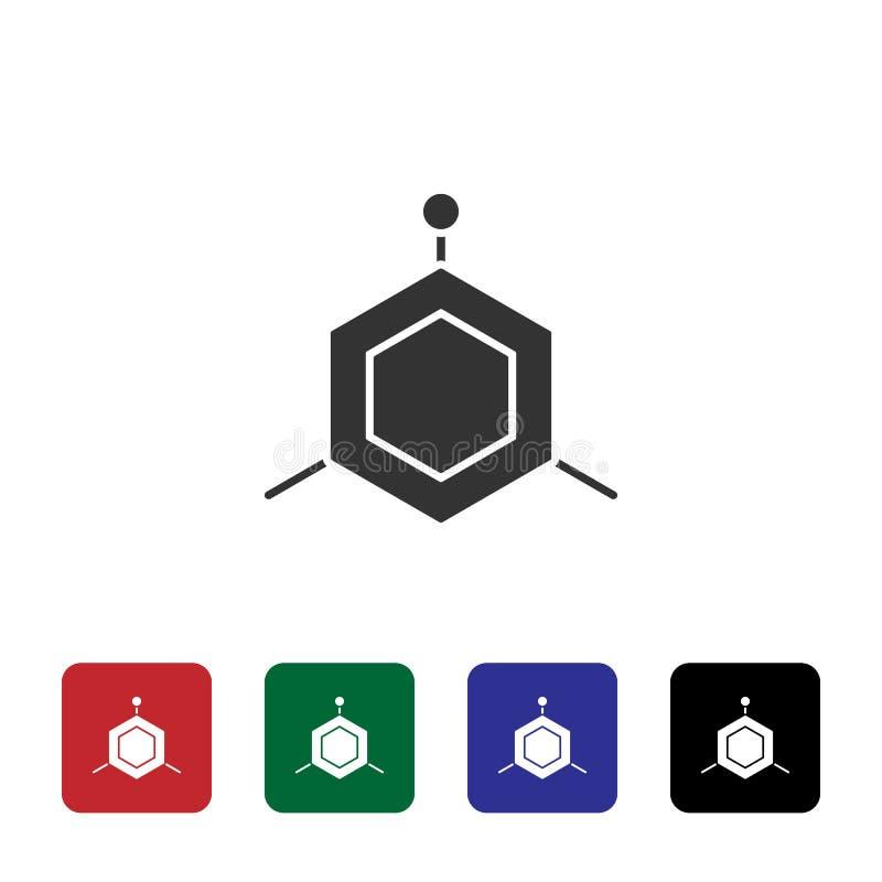Icono del vector de las moléculas Ejemplo simple del elemento del concepto de la biotecnolog?a Icono del vector de las moléculas  stock de ilustración