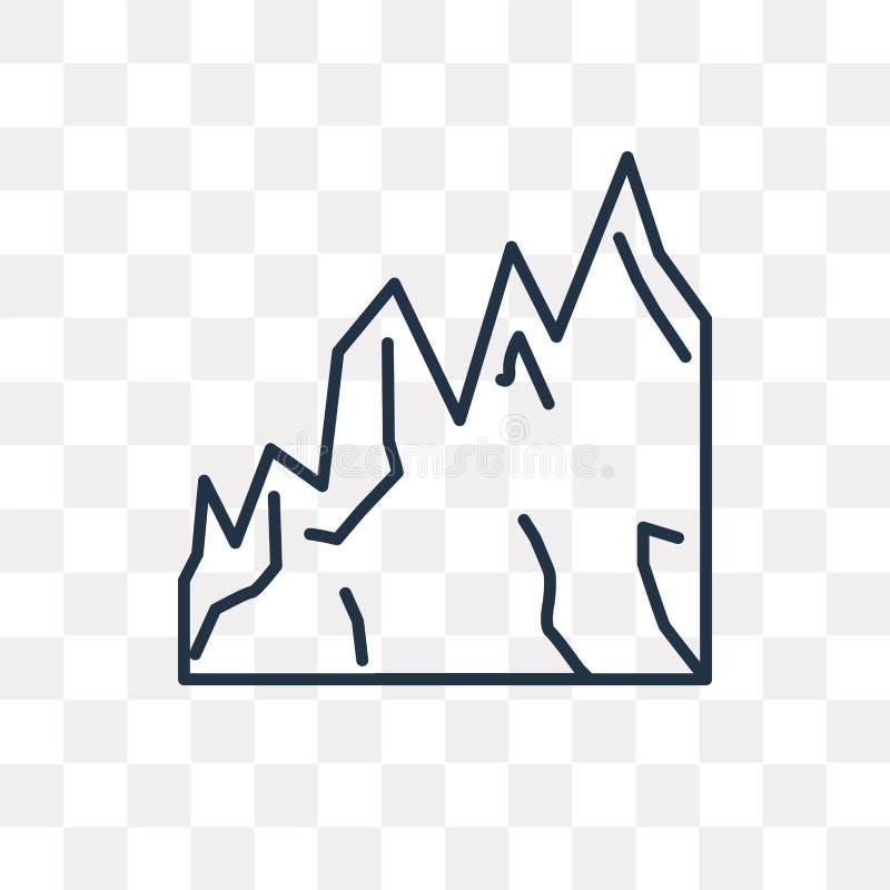 Icono del vector de las montañas aislado en el fondo transparente, linear libre illustration