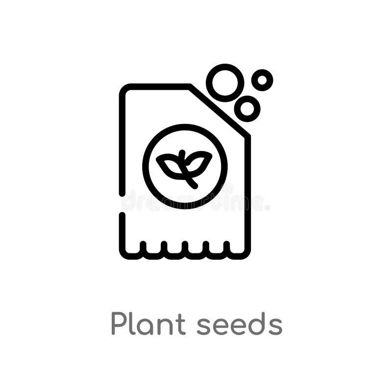 icono del vector de las semillas de la planta del esquema l?nea simple negra aislada ejemplo del elemento de la agricultura que c stock de ilustración
