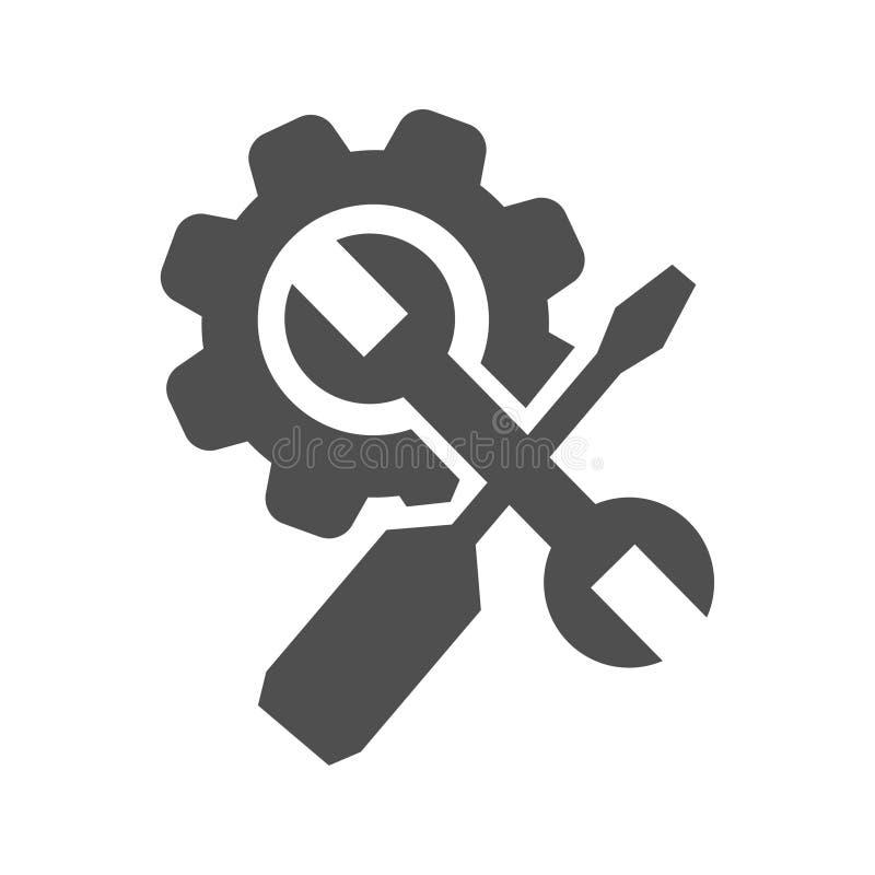 Icono del vector de los ajustes stock de ilustración