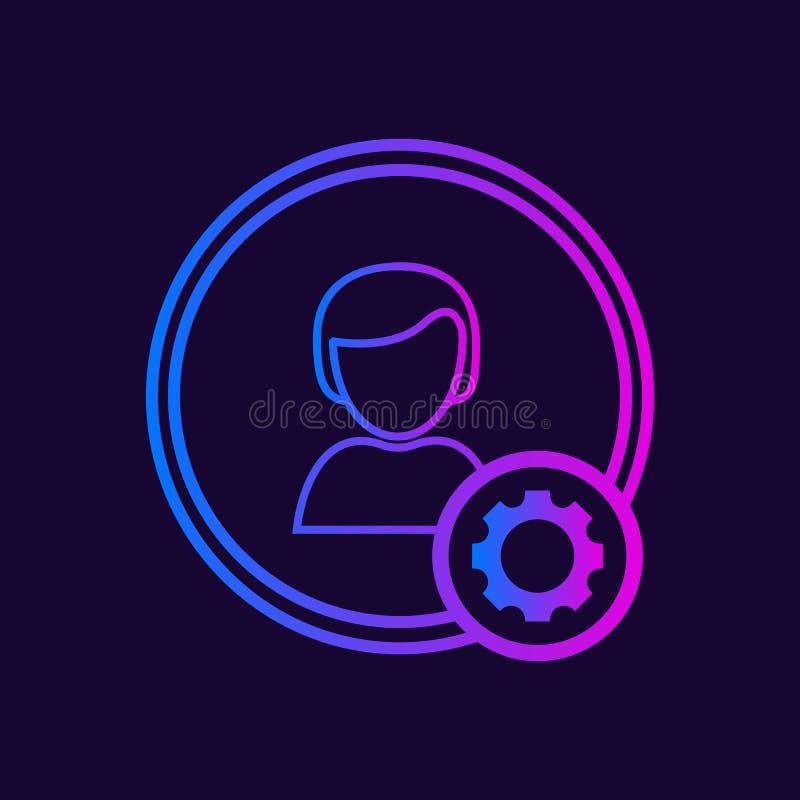 Icono del vector de los ajustes de la cuenta ilustración del vector