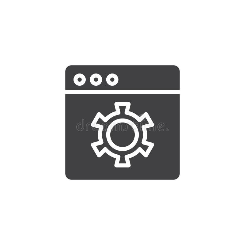 Icono del vector de los ajustes de navegador stock de ilustración