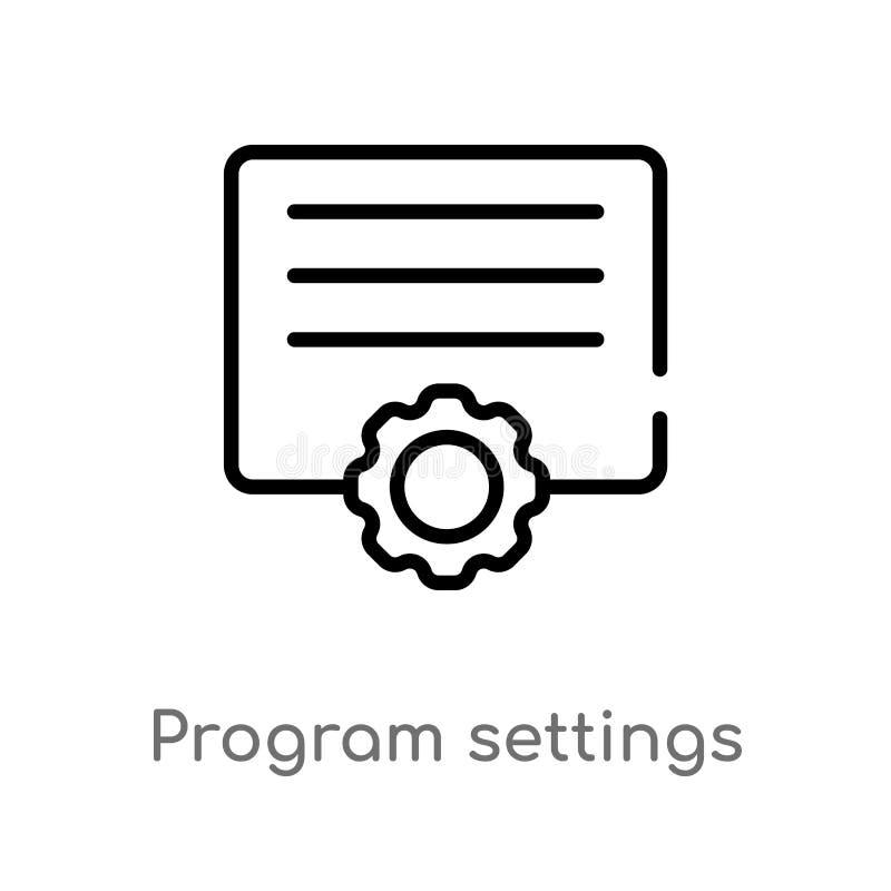 icono del vector de los ajustes del programa global línea simple negra aislada ejemplo del elemento del concepto de las herramien libre illustration