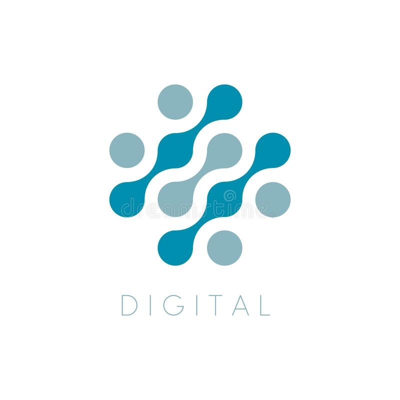 Icono del vector de los círculos Digitaces Logo Template Logotipo cruzado de la reparación del ordenador Puntea símbolo abstracto ilustración del vector