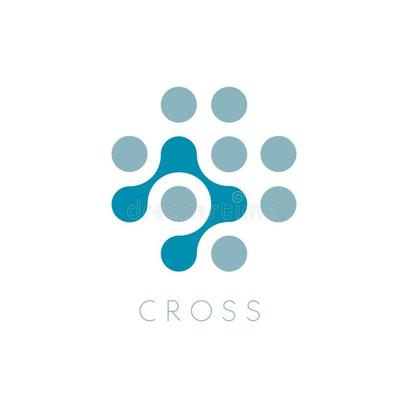 Icono del vector de los círculos Logo Template cruzado Símbolo más Puntea símbolo abstracto Ejemplo aislado del vector en espacio ilustración del vector