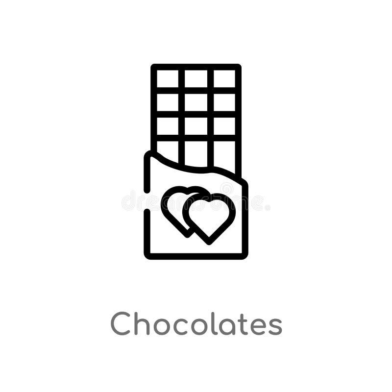 icono del vector de los chocolates del esquema l?nea simple negra aislada ejemplo del elemento del amor y del concepto el casarse stock de ilustración