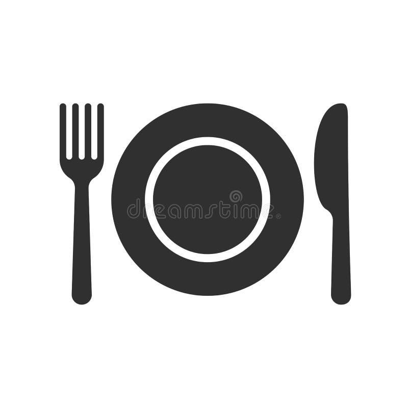 Icono del vector de los cubiertos del vector de la bifurcación de la cuchara de la placa stock de ilustración
