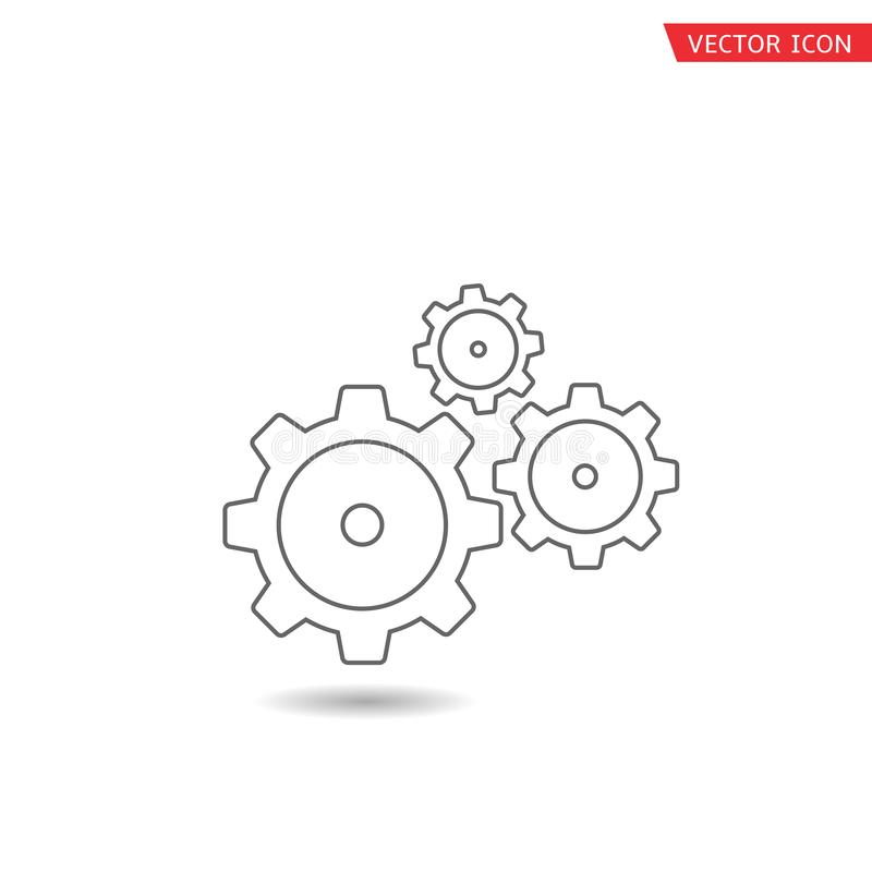 Icono del vector de los engranajes ilustración del vector