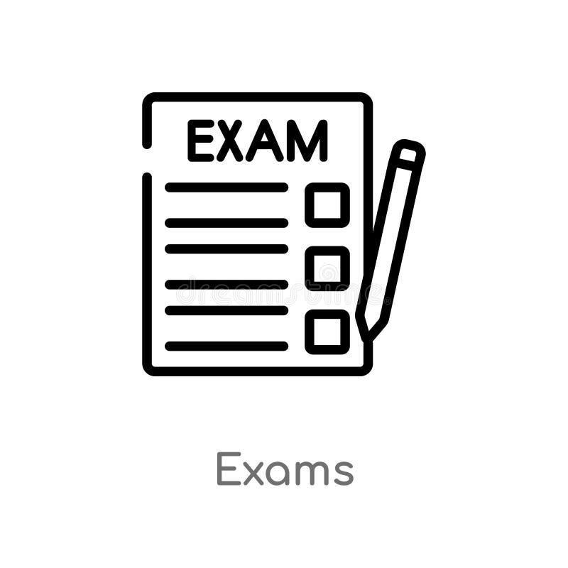 icono del vector de los exámenes del esquema línea simple negra aislada ejemplo del elemento del concepto de la educación exámene ilustración del vector