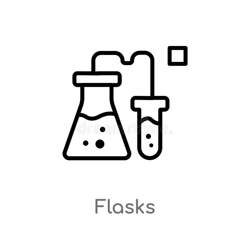 icono del vector de los frascos del esquema l?nea simple negra aislada ejemplo del elemento del concepto de la ciencia frascos ed stock de ilustración