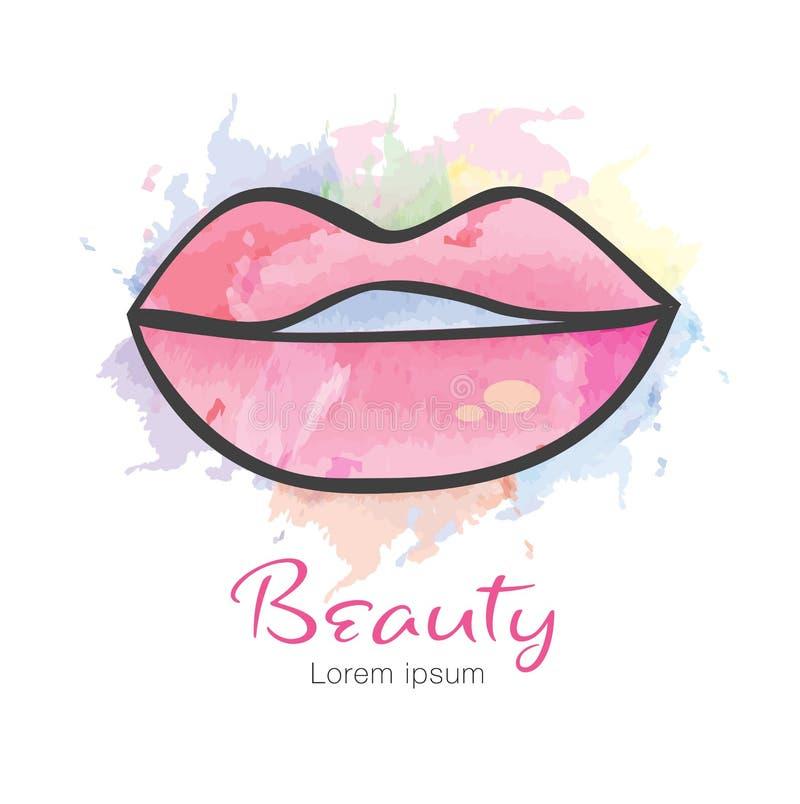 Icono del vector de los labios, diseño del logotipo para la moda, belleza, cosméticos, balneario, icono de la web, mano dibujada libre illustration