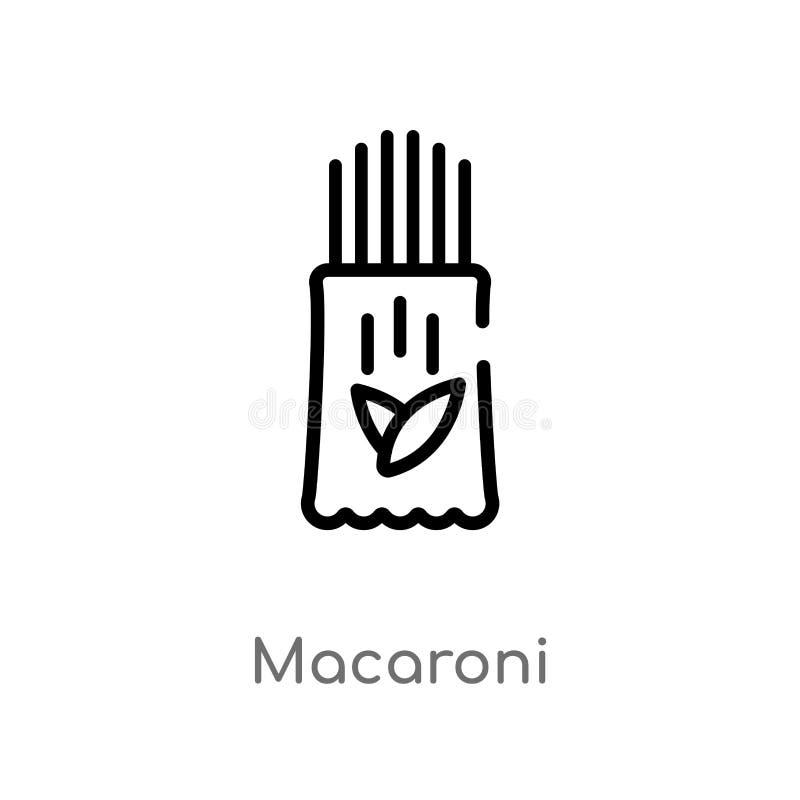 icono del vector de los macarrones del esquema l?nea simple negra aislada ejemplo del elemento del concepto de la gastronom?a Mov ilustración del vector