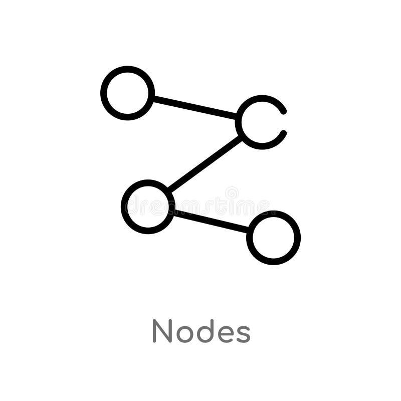 icono del vector de los nodos del esquema línea simple negra aislada ejemplo del elemento del concepto contento icono editable de libre illustration