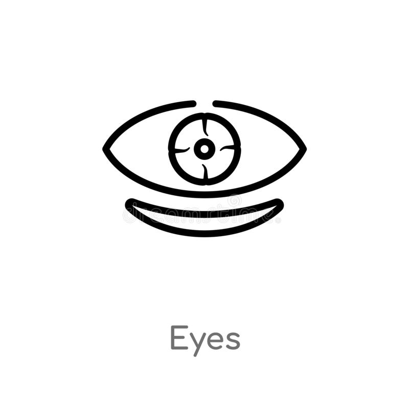 icono del vector de los ojos del esquema línea simple negra aislada ejemplo del elemento del concepto de la música icono editable stock de ilustración