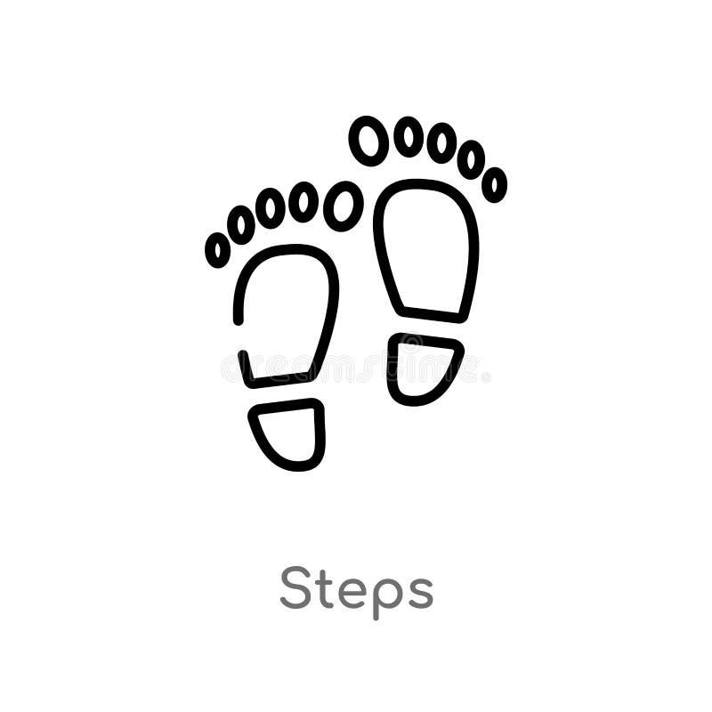 icono del vector de los pasos del esquema l?nea simple negra aislada ejemplo del elemento del concepto general icono editable de  ilustración del vector