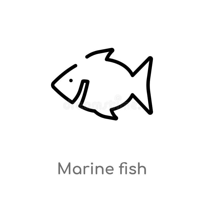 icono del vector de los peces marinos del esquema l?nea simple negra aislada ejemplo del elemento del concepto de la cultura Movi stock de ilustración