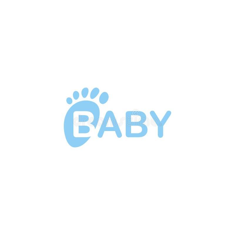 Icono del vector de los pies del bebé Impresión recién nacida aislada del pie Ejemplo de la huella de los niños en fondo en blanc libre illustration