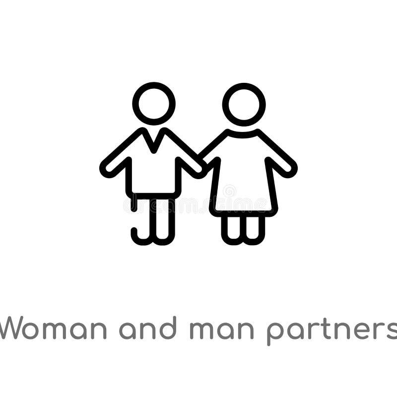 icono del vector de los socios de la mujer y del hombre del esquema línea simple negra aislada ejemplo del elemento del concepto  stock de ilustración